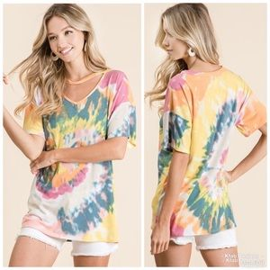 So Soft Tie Dye Knit Top with V-neck cutout